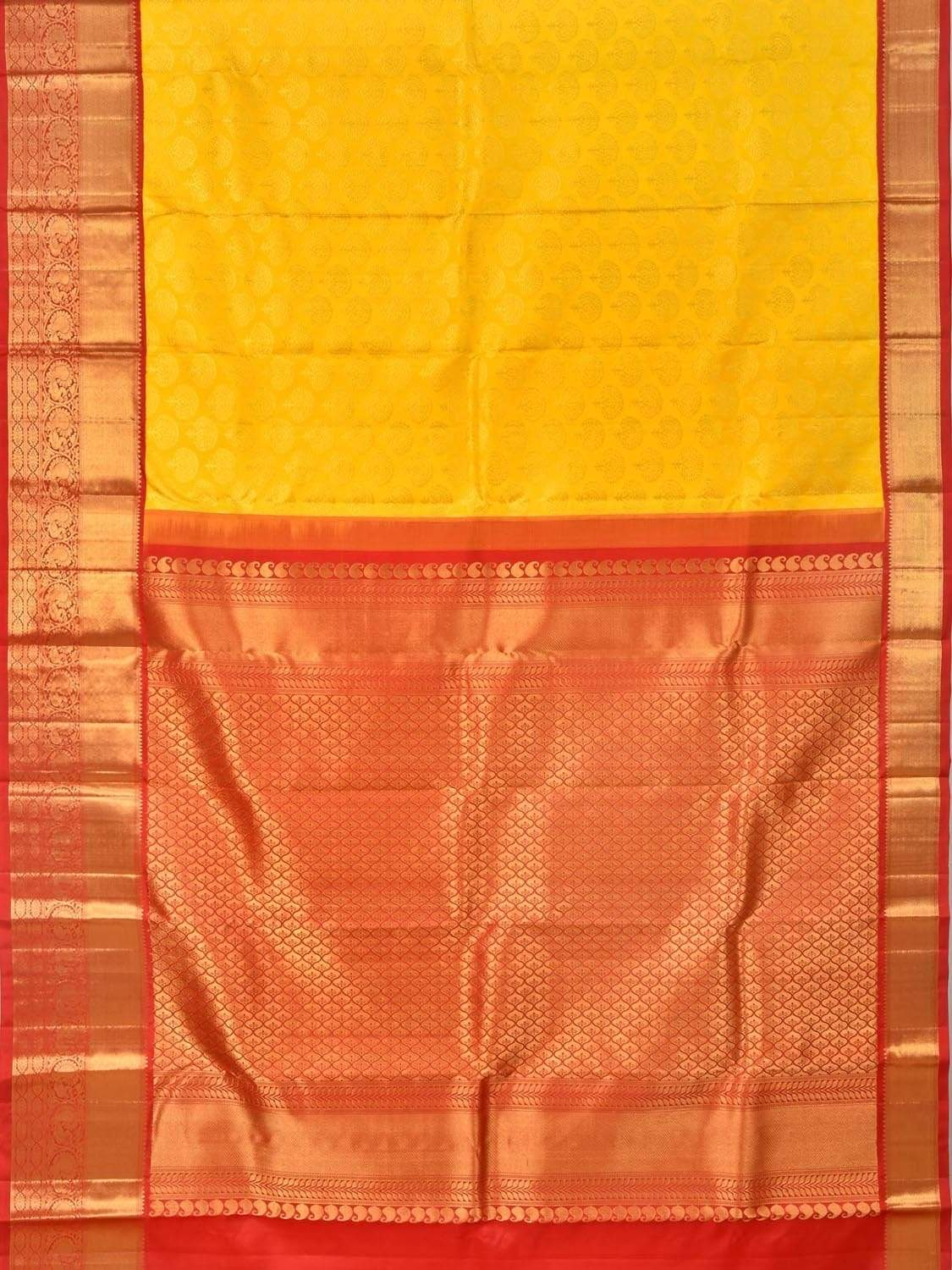 Yellow Kanchipuram Silk Handloom Sareew with All Over Tree Buta Design k0475