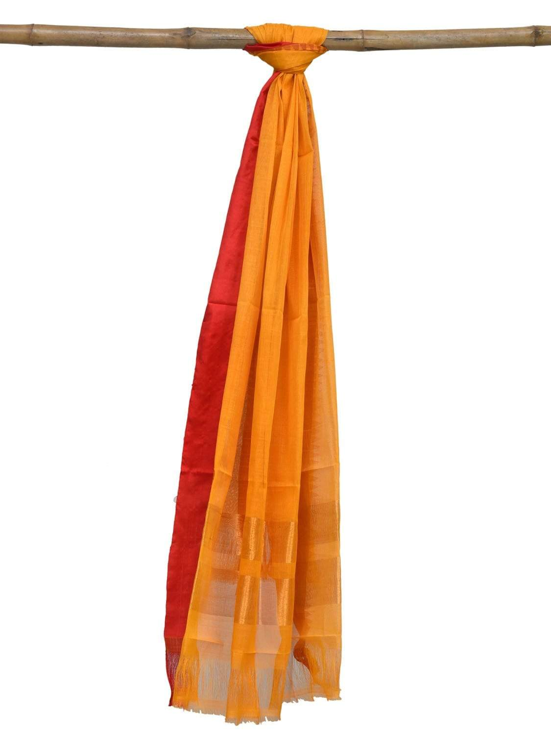 Yellow Khadi Cotton Handloom Dupatta with Silk Border Design ds1883