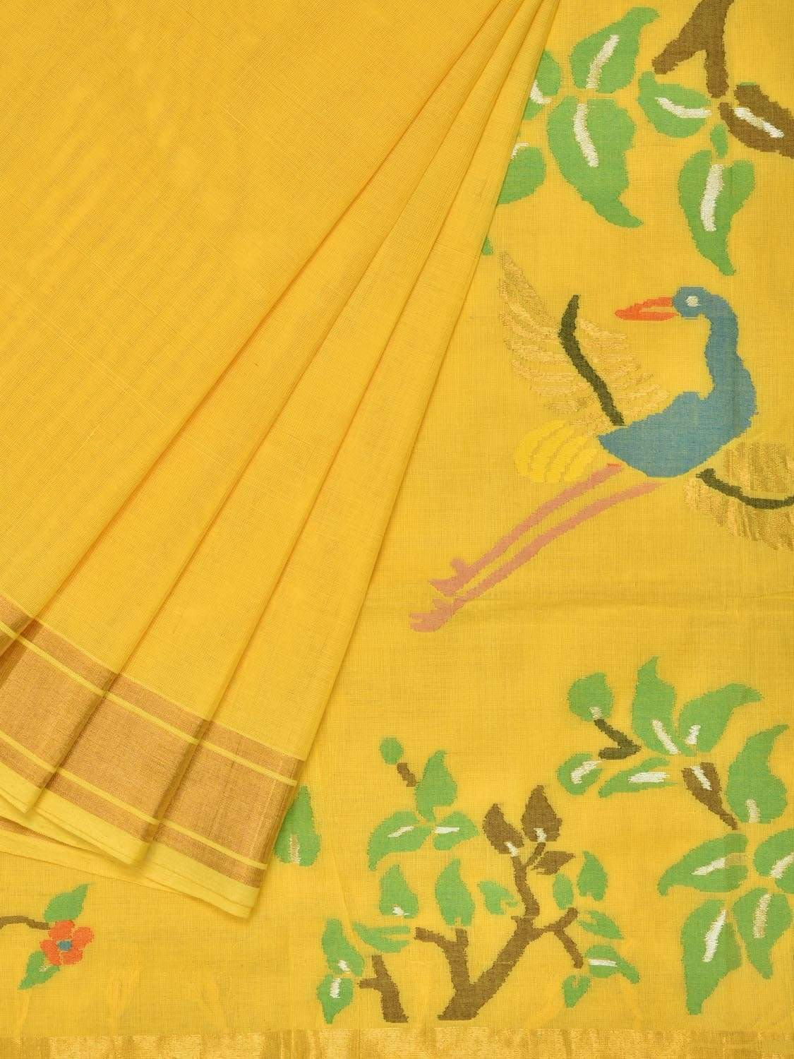 Yellow Khadi Cotton Handloom Saree with Birds Pallu Design kh0440