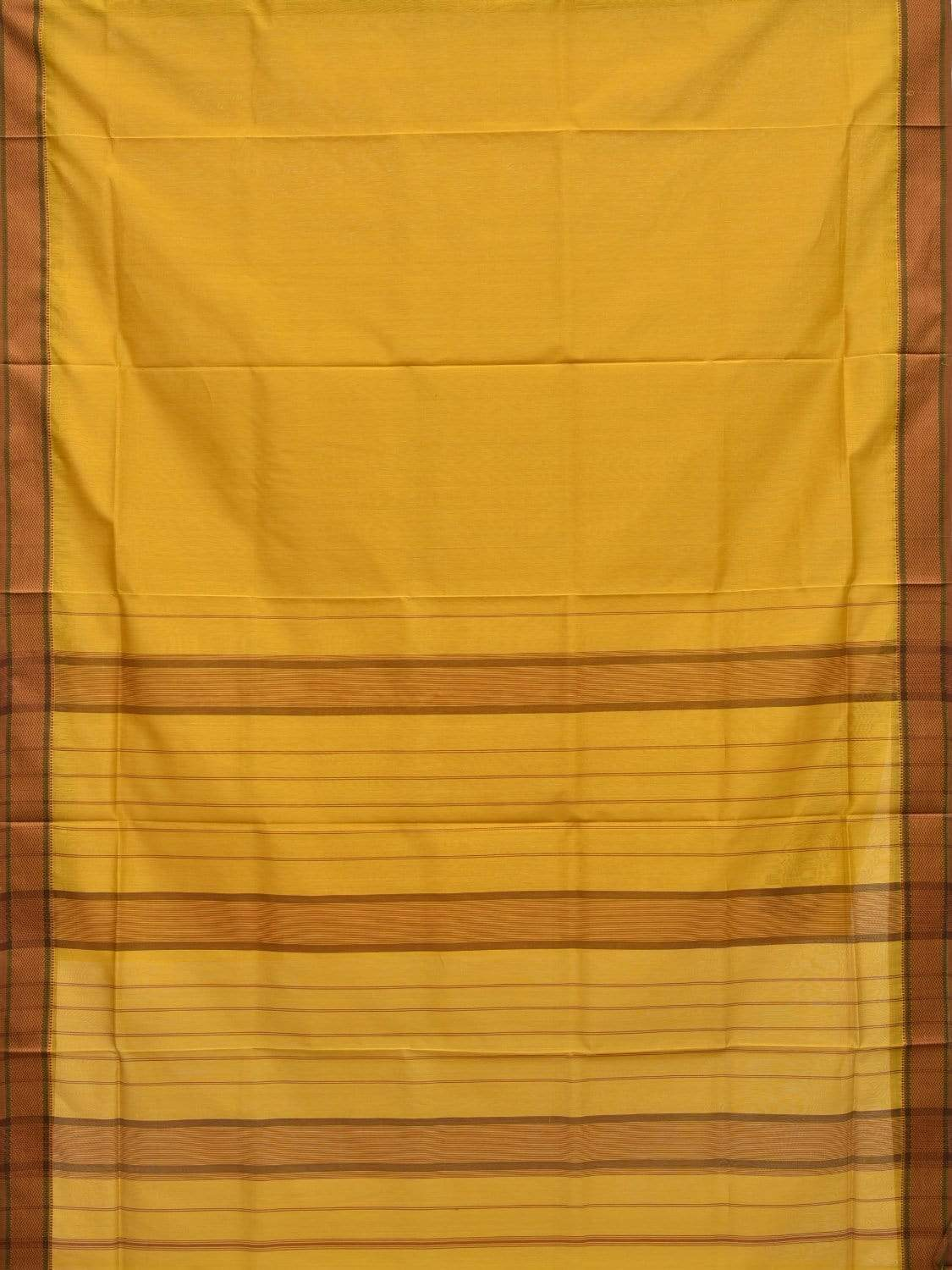 Yellow Maheshwari Cotton Silk Handloom Plain Saree with Strips Pallu Design m0123