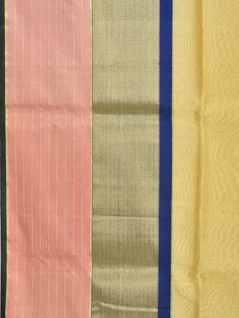 Yellow Maheshwari Cotton Silk Handloom Saree with One Side Big Border M0078
