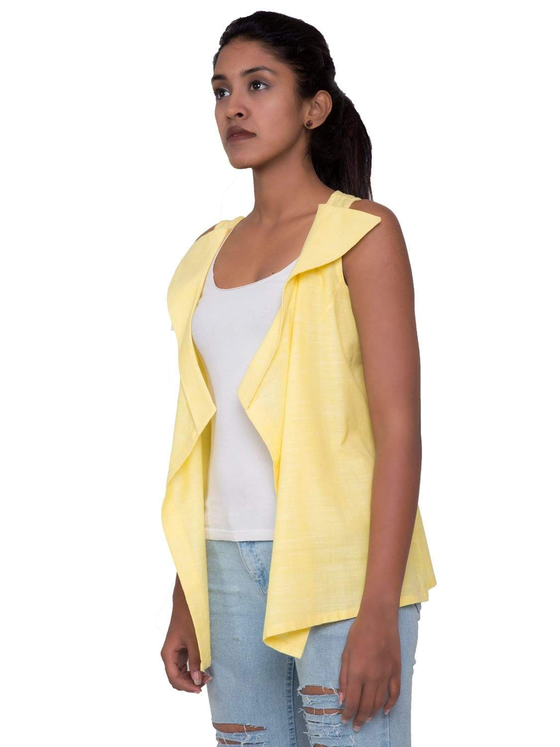 Yellow PikaLove Organic Cotton Sleeve Less Jacket UNC-MB-YL-003