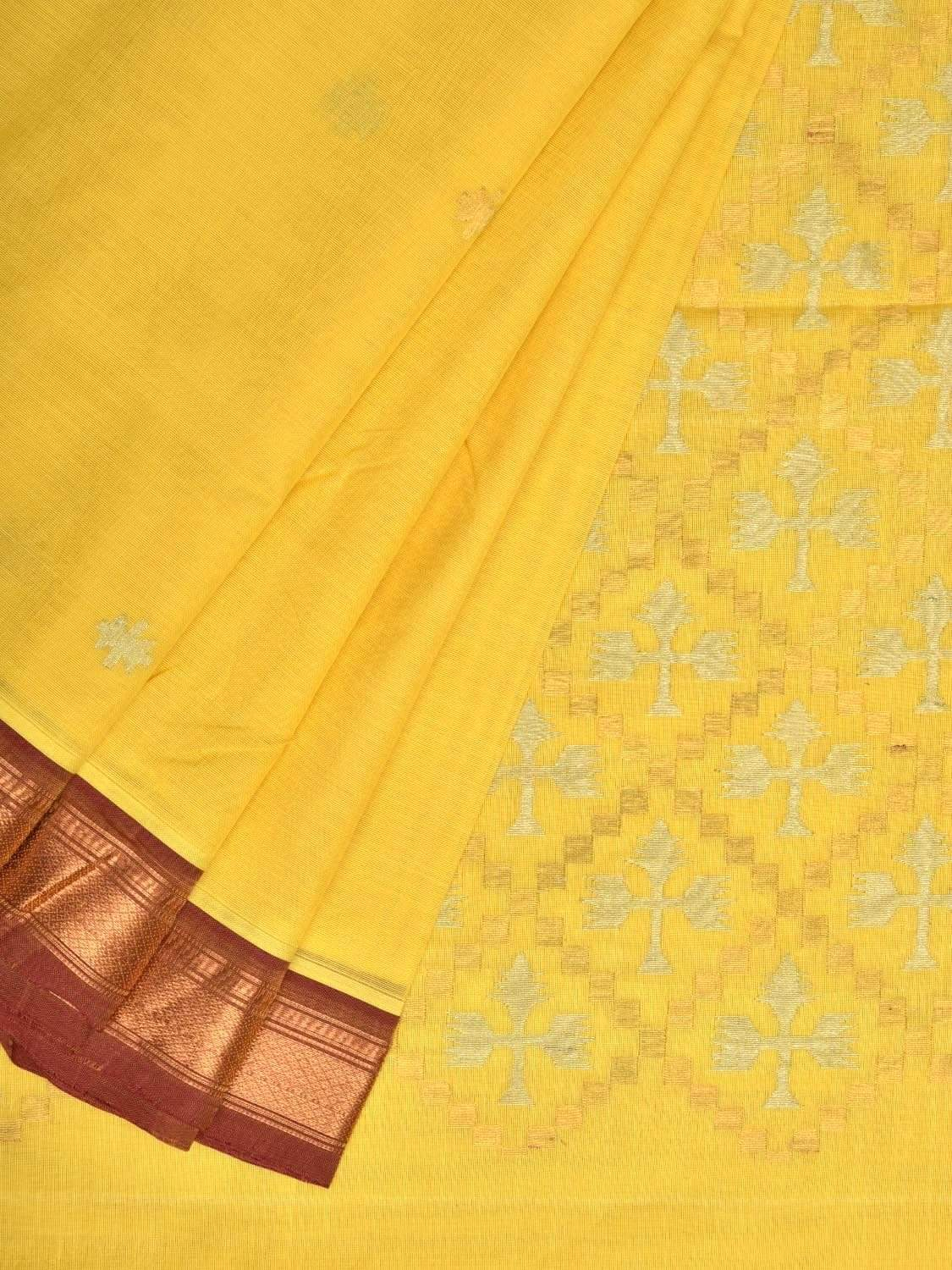 Yellow Uppada Cotton Handloom Saree with Jamdani Pallu Design u1642