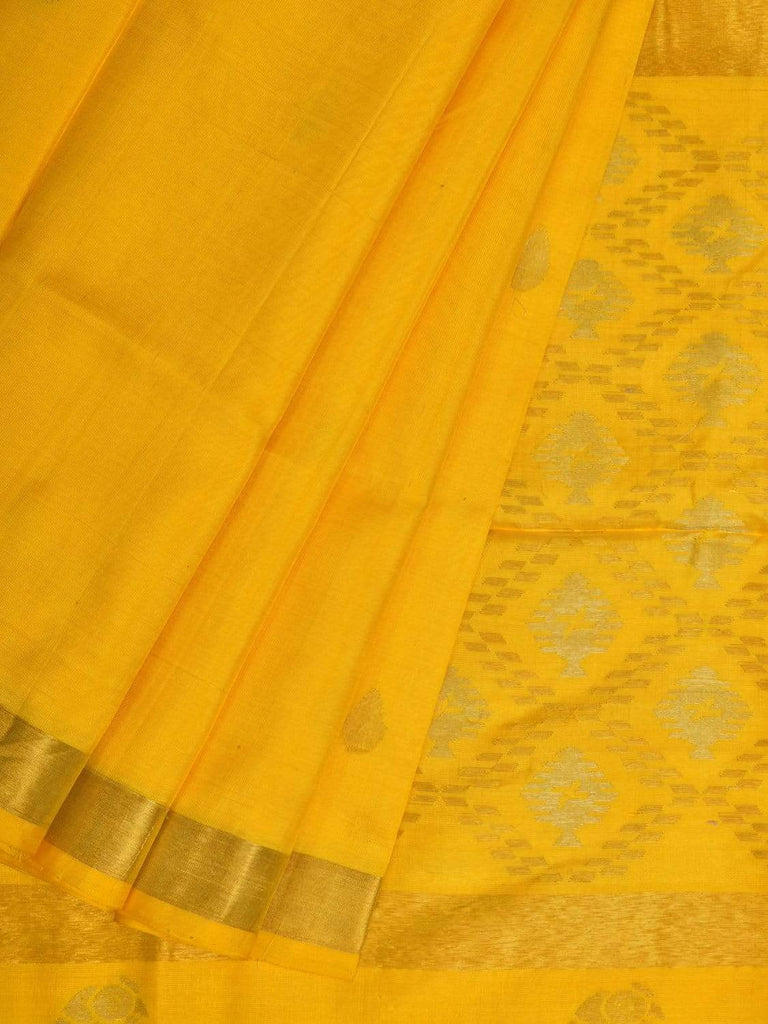 Yellow Uppada Silk Handloom Saree with Birds and Jamdani Pallu Design u1702