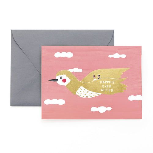 Golden Bird Wedding Card