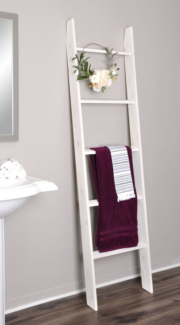 Lucus White Washed Decorative Blanket Ladder