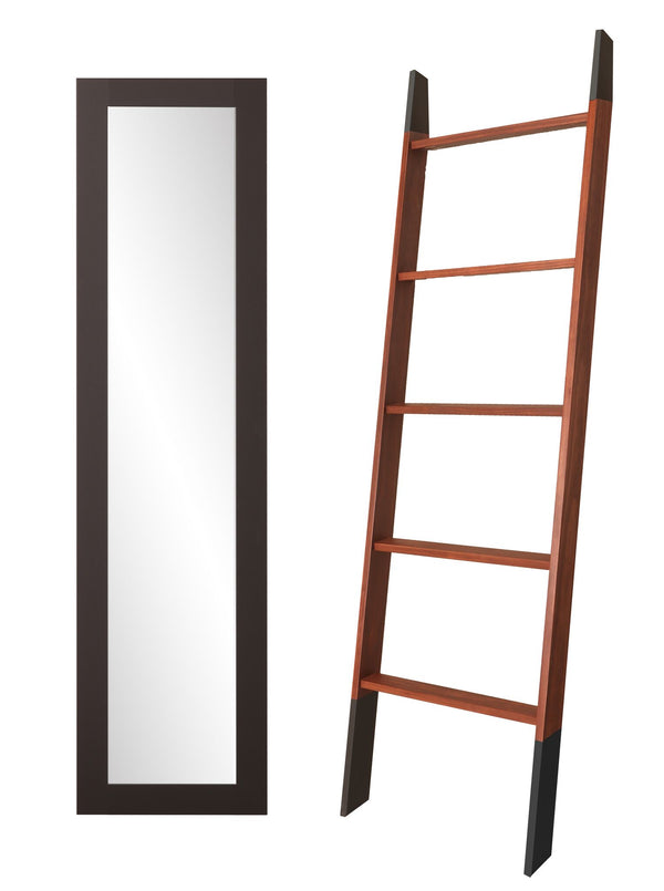 2 Piece 6ft Set - Blanket Ladder and Slim Floor Mirror
