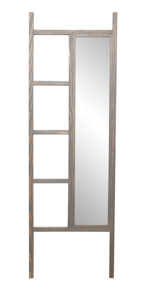 Weathered Gray Leaning Mirror Ladder 23.25'' x 72''