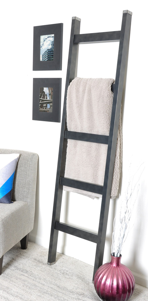 Metal Tipped Industrial Modern Blanket Ladder