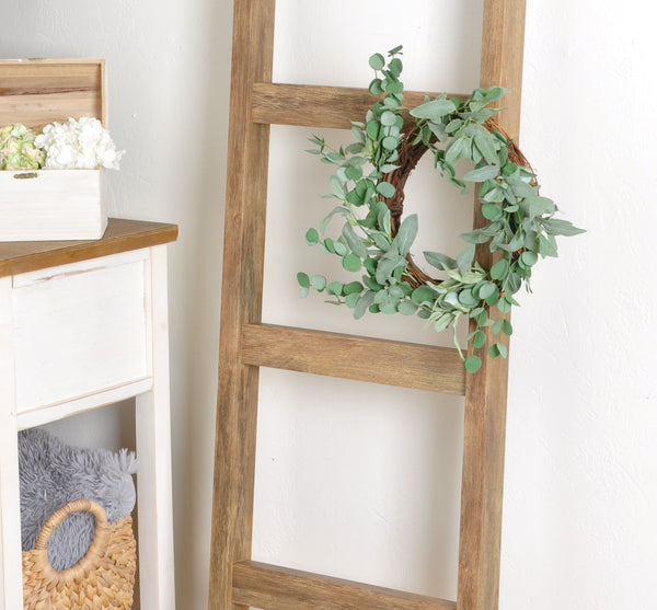 Brown Barn 6ft Blanket Ladder & Faux Wreath Set