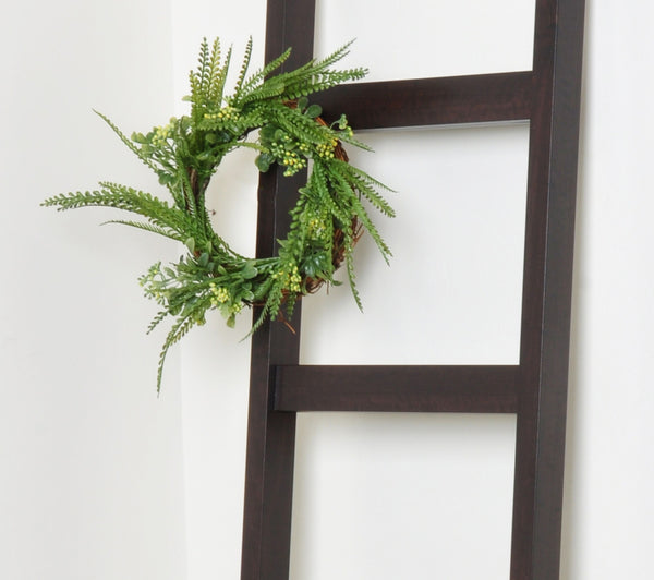 Modern Walnut 6ft Blanket Ladder & Faux Wreath Set