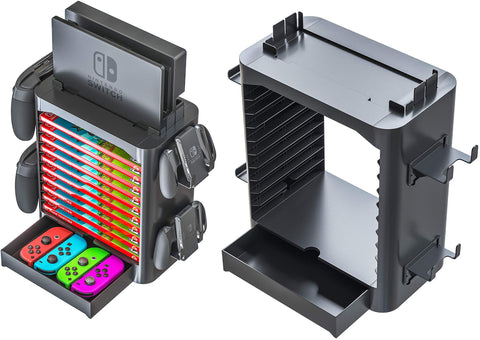 Nintendo switch gaming tower storage stand for controllers and cartridges