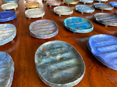 Rows of soap dishes
