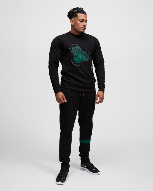 LA ROSA 'GREEN ROLEY ROSES' CREWNECK