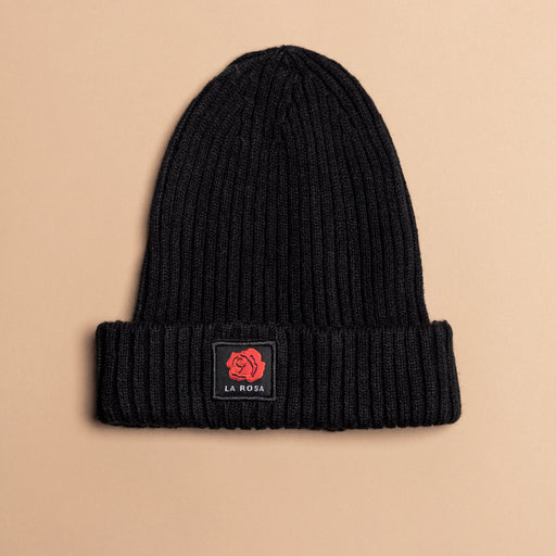 Black Logo Wool Rose Beanie