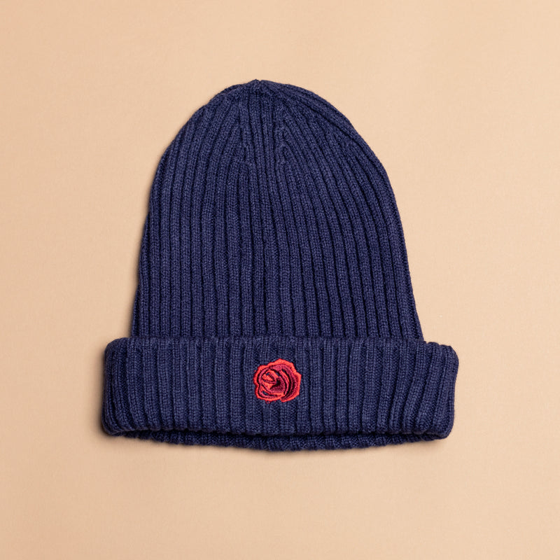 Navy Blue Wool Rose Beanie