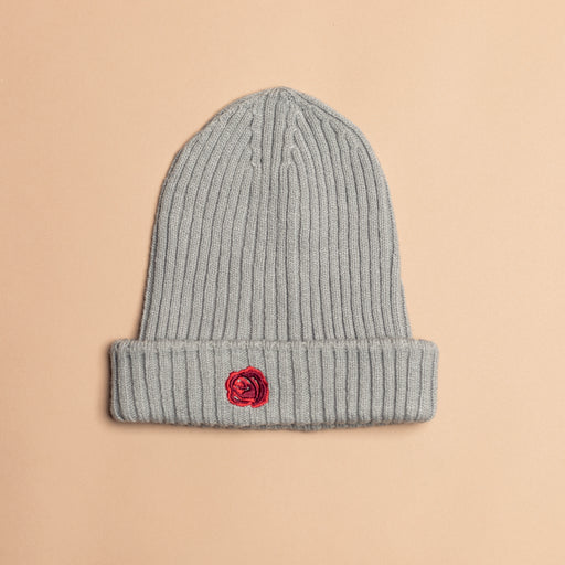 Grey Wool Rose Beanie