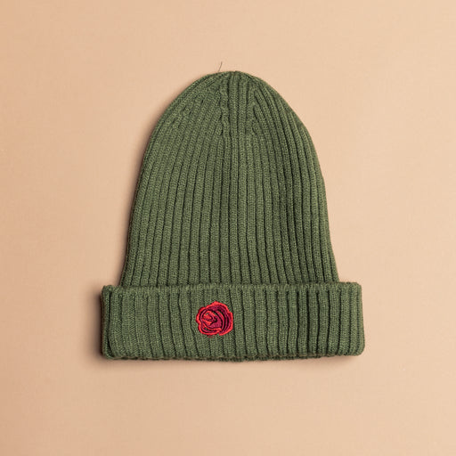Army Green Wool Rose Beanie