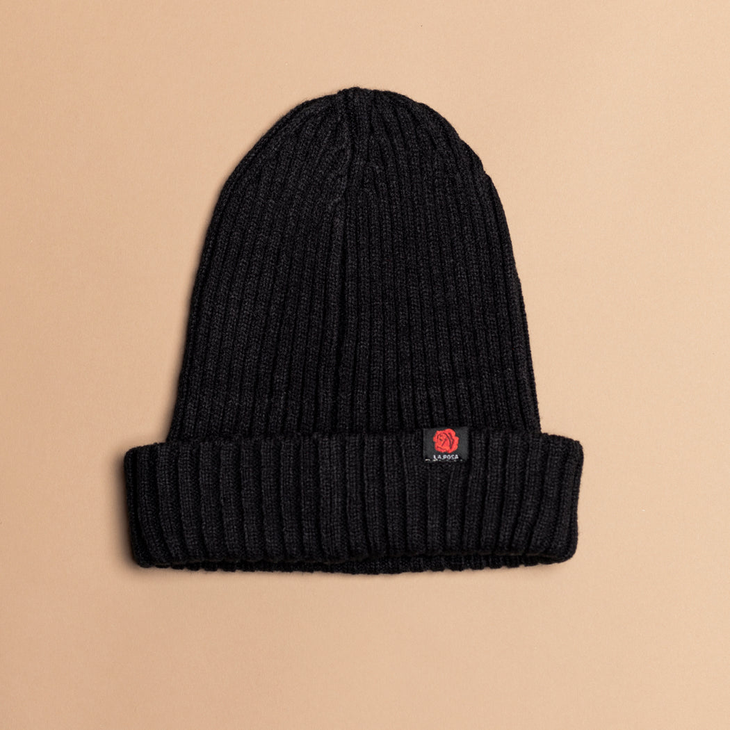 Black Wool Rose Beanie