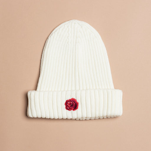 White Wool Rose Beanie
