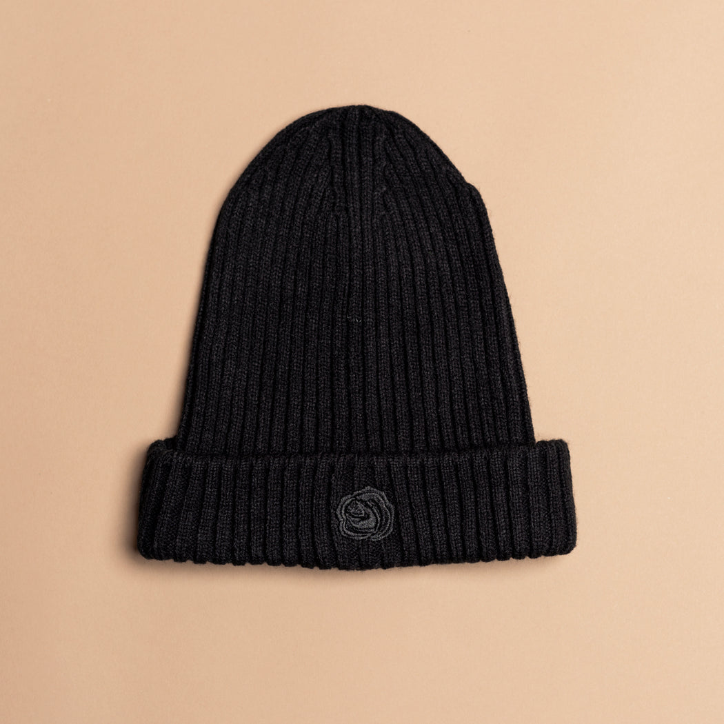 All Black Wool Rose Beanie