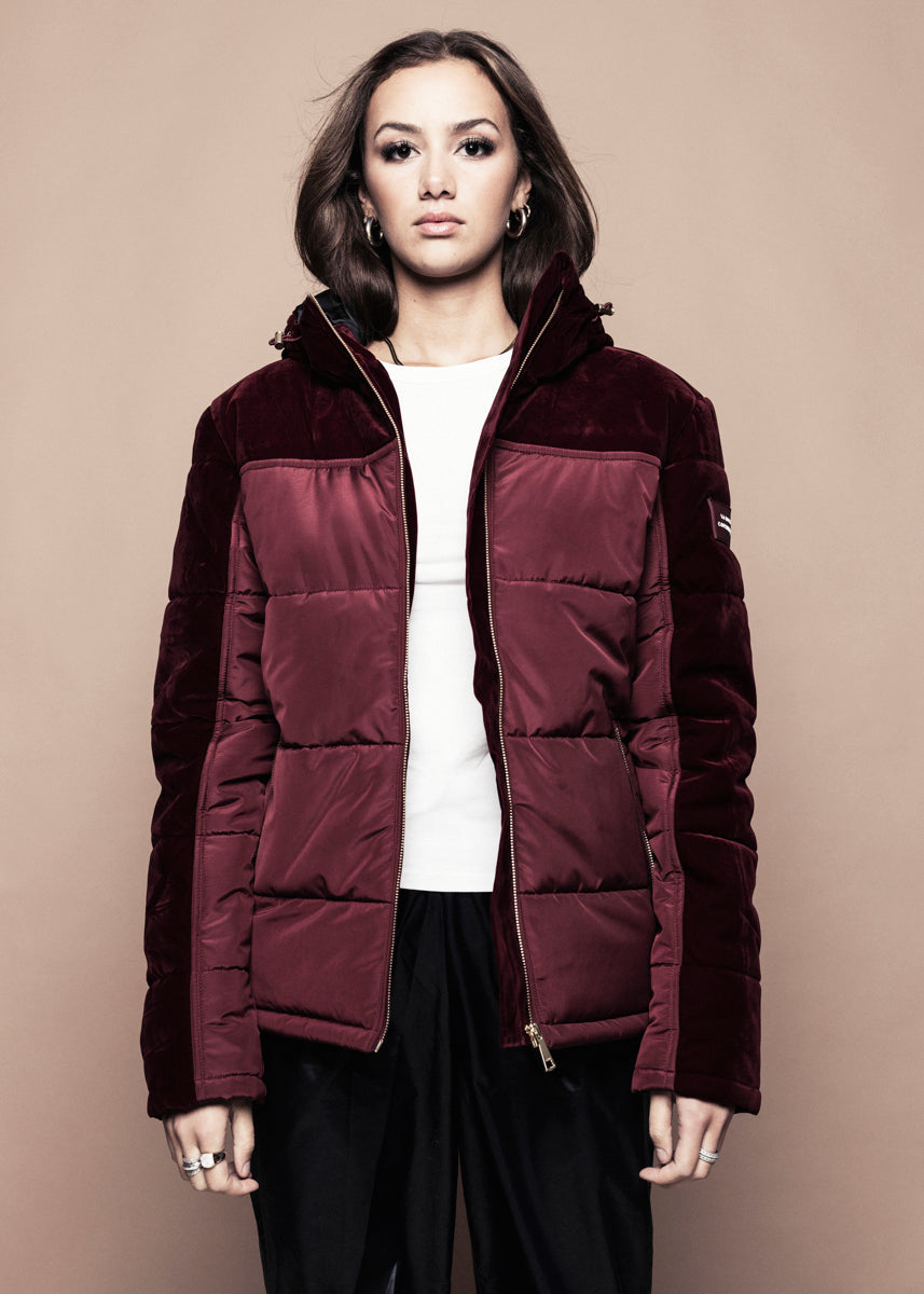Burgundy Velvet Down Jacket