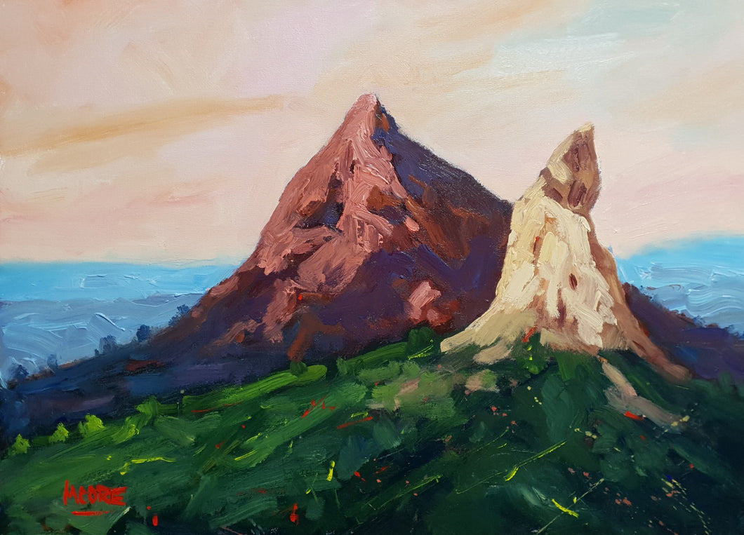 Glasshouse Mountains At Sunset