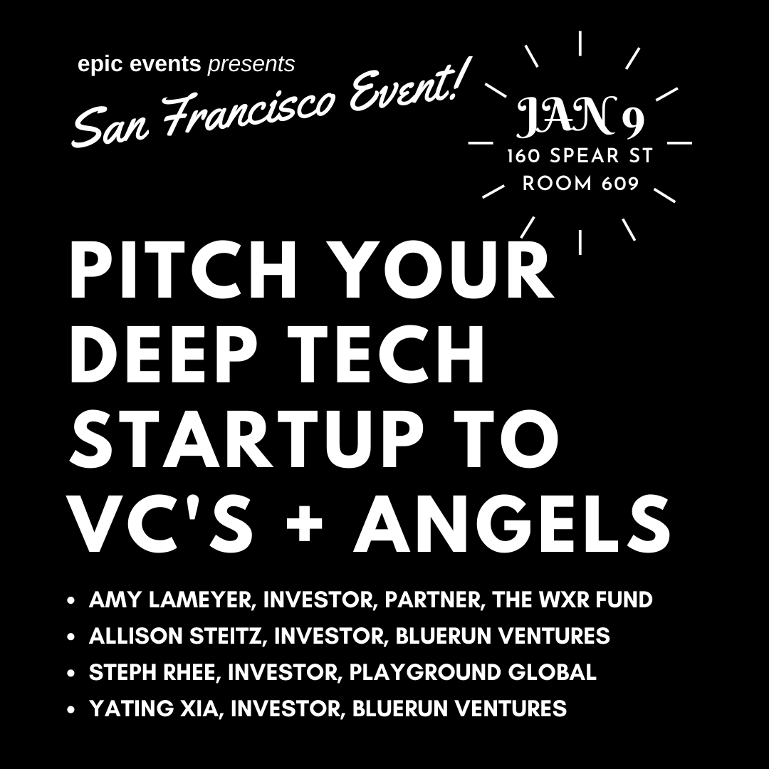 1/9 Pitch Your Startup to Investor Panel of VCs and Angels