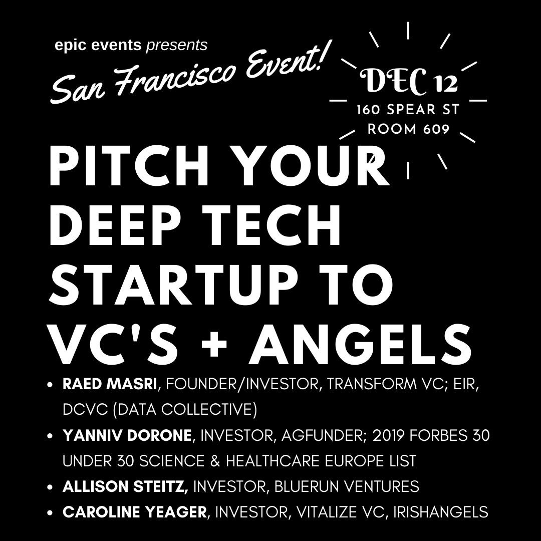 12/12 Pitch Your Startup to Investor Panel of VCs and Angels