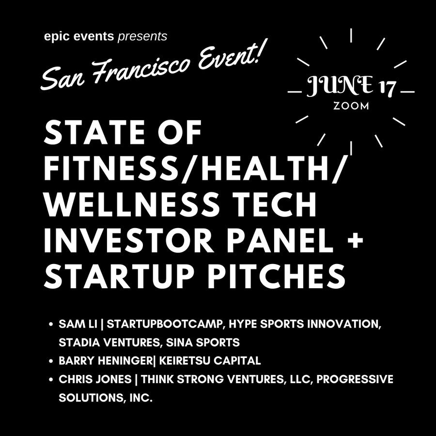 6/17 State of Fitness/Health/Wellness Tech Panel + Startup Pitches (On Zoom)