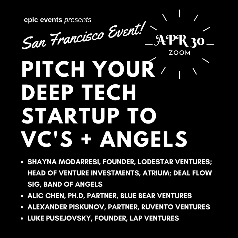 4/30 Pitch Your Startup to Investor Panel of VCs and Angels (On Zoom)