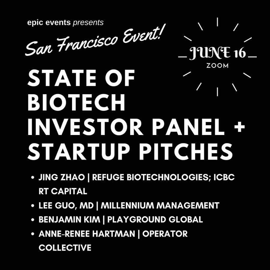 6/16 State of Biotech Investor Panel + Startup Pitches (On Zoom)