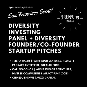 6/15 State of Diversity Investing Panel + Diversity Founder/Co-Founder Startup Pitches (On Zoom)