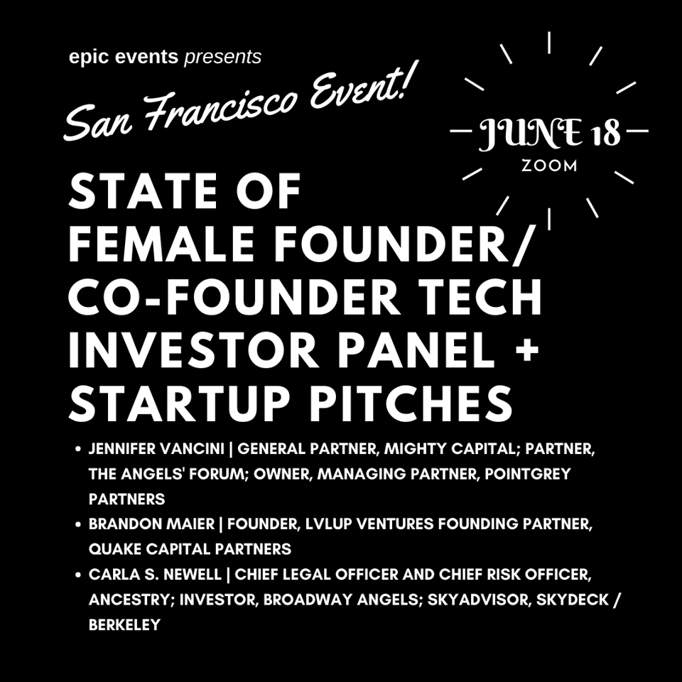 6/18 State of Female Founder/Co-Founder Tech Investor Panel + Startup Pitches (On Zoom)