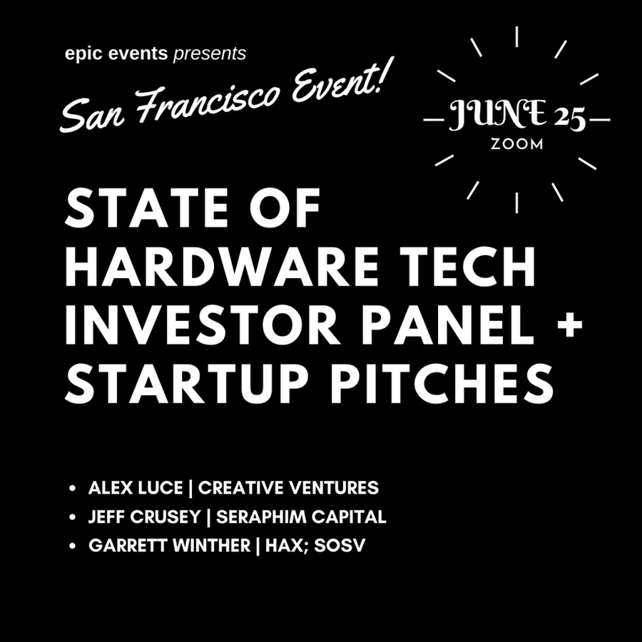 6/25 State of Hardware Tech Investor Panel + Startup Pitches (On Zoom)