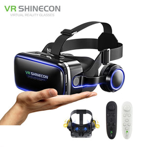 VR shinecon 6.0 Google Cardboard Pro Version VR Virtual Reality 3D Glasses and Smart Bluetooth Wireless Remote Control Gamepad