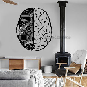 Brain Chip Engineer Vinyl Wall Stickers Geek Computer Artificial Intelligence Wall Decal Creative Design Wallpaper Mural  SA916