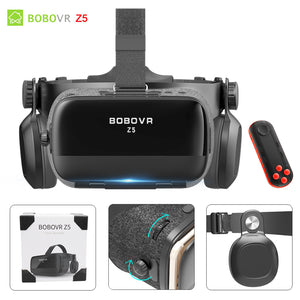BOBOVR Z4 Update BOBO VR Z5 120 FOV 3D Cardboard Helmet Virtual Reality Glasses Headset Stereo for 4.7-6.2' Mobile Phone