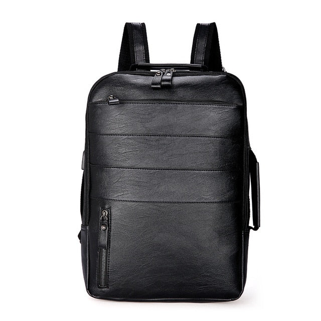Multi-functiona Men Backpack Waterproof PU Leather Travel Bag Man Many Departments Mochila Male Laptop Bag Teenager Backpacks