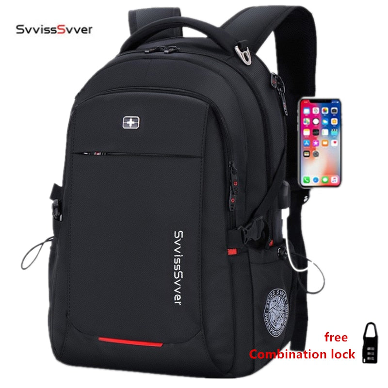svvisssvver male Multifunction USB charging fashion business casual travel anti-theft waterproof 15.6 inch Laptop men backpack