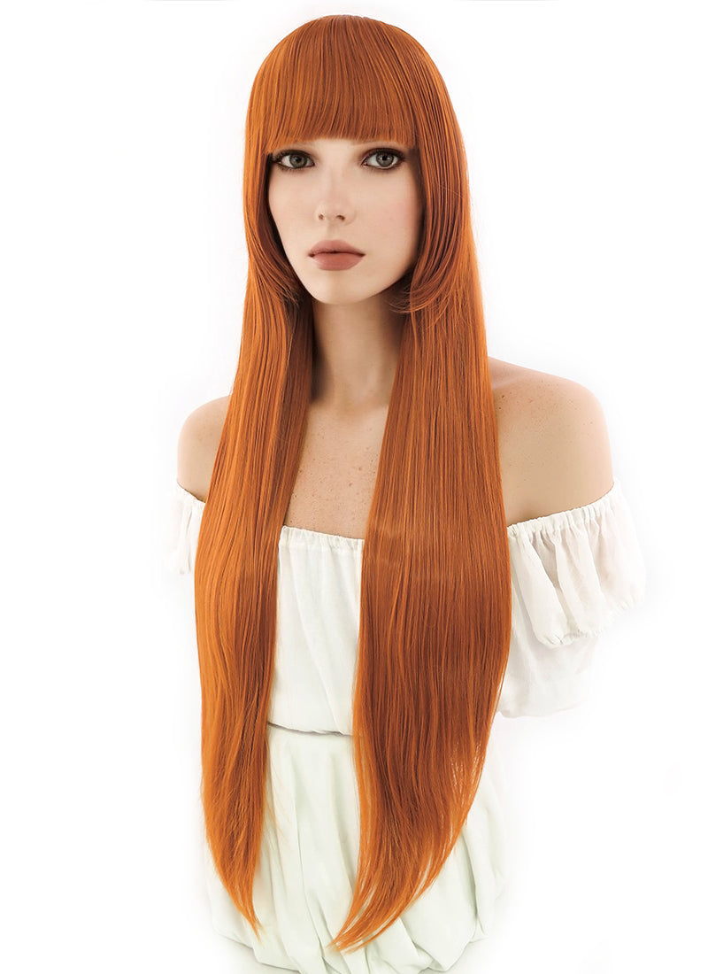 Persona5 Futaba Sakura Long Pumpkin Orange Cosplay Hair Wig CG58B - CosplayBuzz