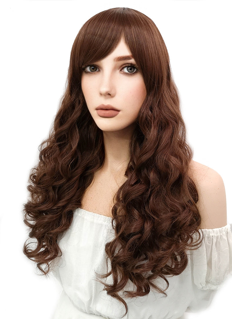 Long Wavy Chestnut Brown Cosplay Wig CM175 - CosplayBuzz