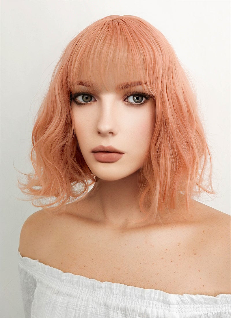 Short Wavy Peach Pink Cosplay Wig CM197 - CosplayBuzz