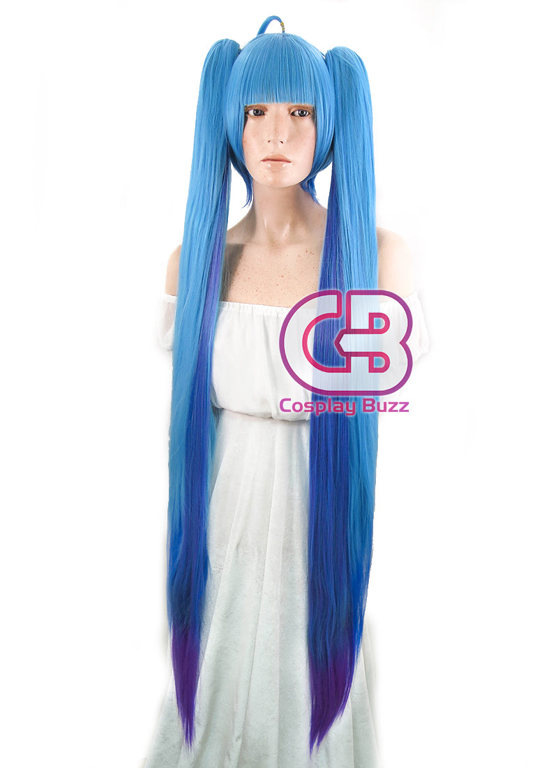 Vocaloid Hatsune Miku Straight Blue Mixed Purple Anime Cosplay Wig + Ponytails CM228
