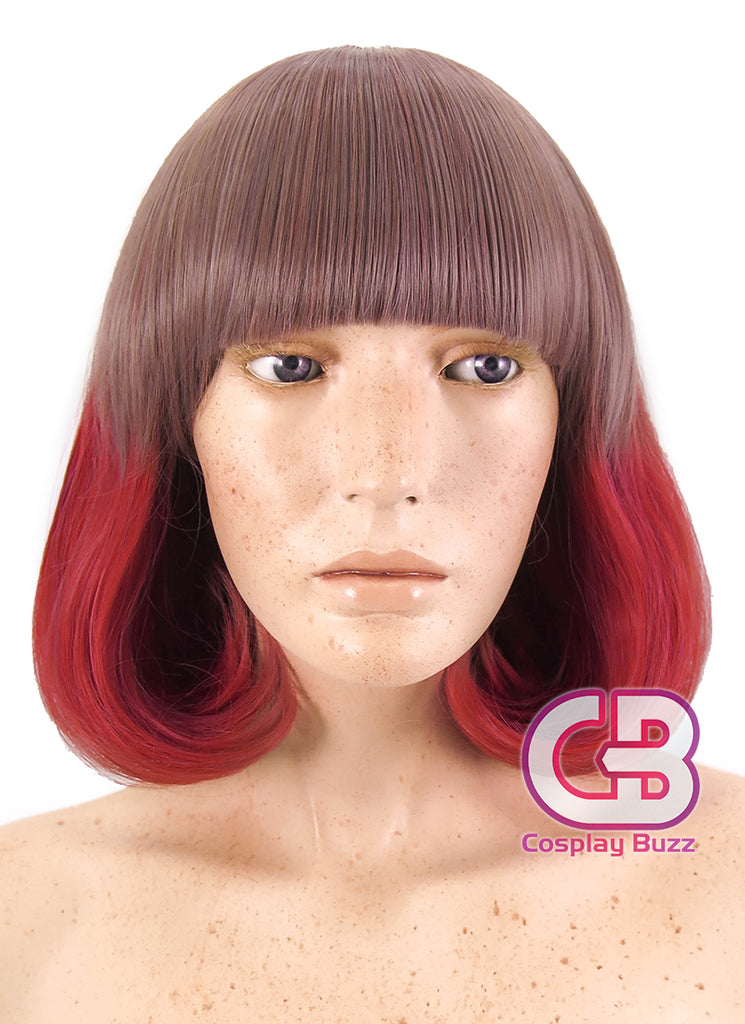 "12"" Short Wavy Purple Mixed Red Cosplay Wig CM229 - CosplayBuzz"
