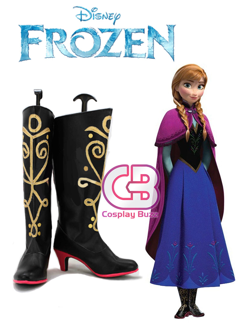 Frozen Anna Custom-Made Black High Heel Shoes / Boots CPA070 - CosplayBuzz
