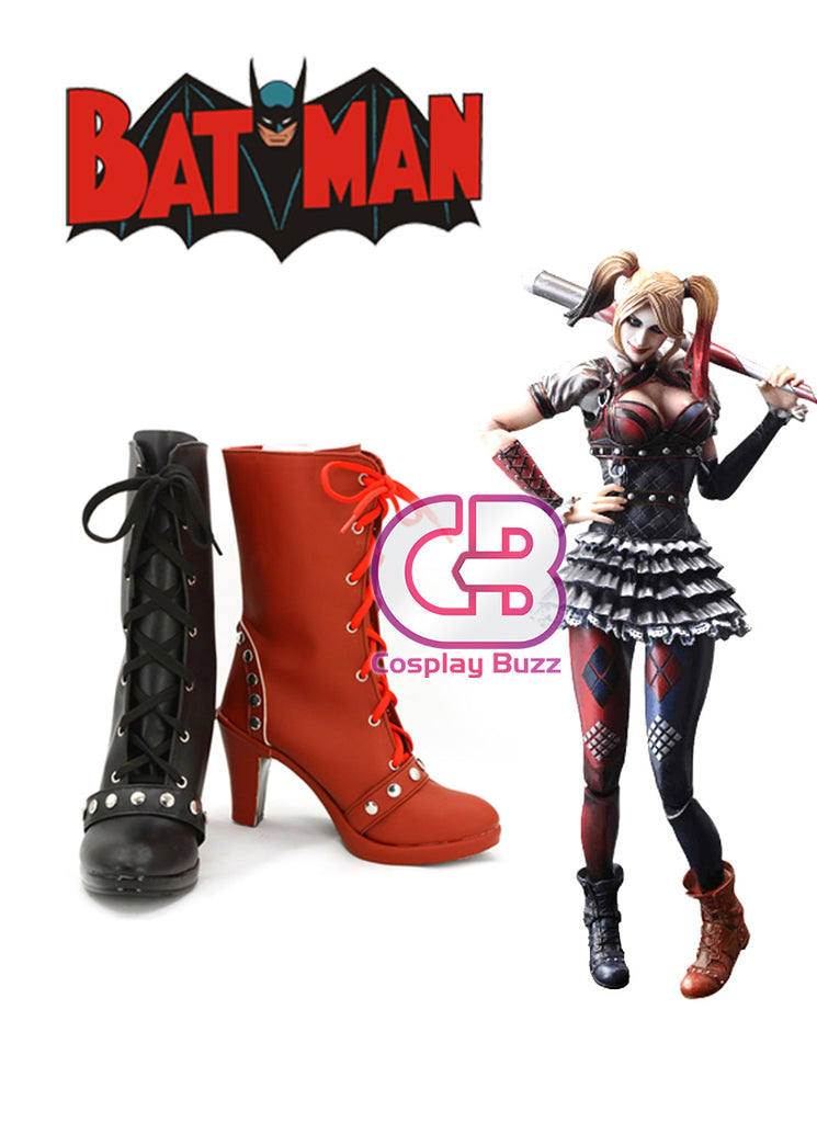 DC Batman Harley Quinn Custom-Made Black And Red High Heel Shoes / Boots CPA114 - CosplayBuzz