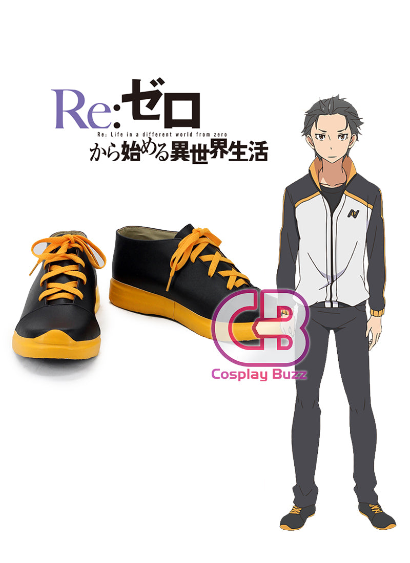 Re:Zero kara Hajimeru Isekai Seikatsu Natsuki Subaru Custom-Made Black And Yellow Shoes CPA133 - CosplayBuzz