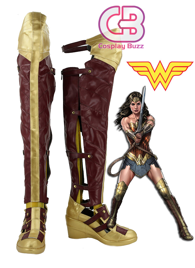 DC Wonder Woman Custom-Made Brown And Golden High Heel Shoes / Boots CPA138 - CosplayBuzz