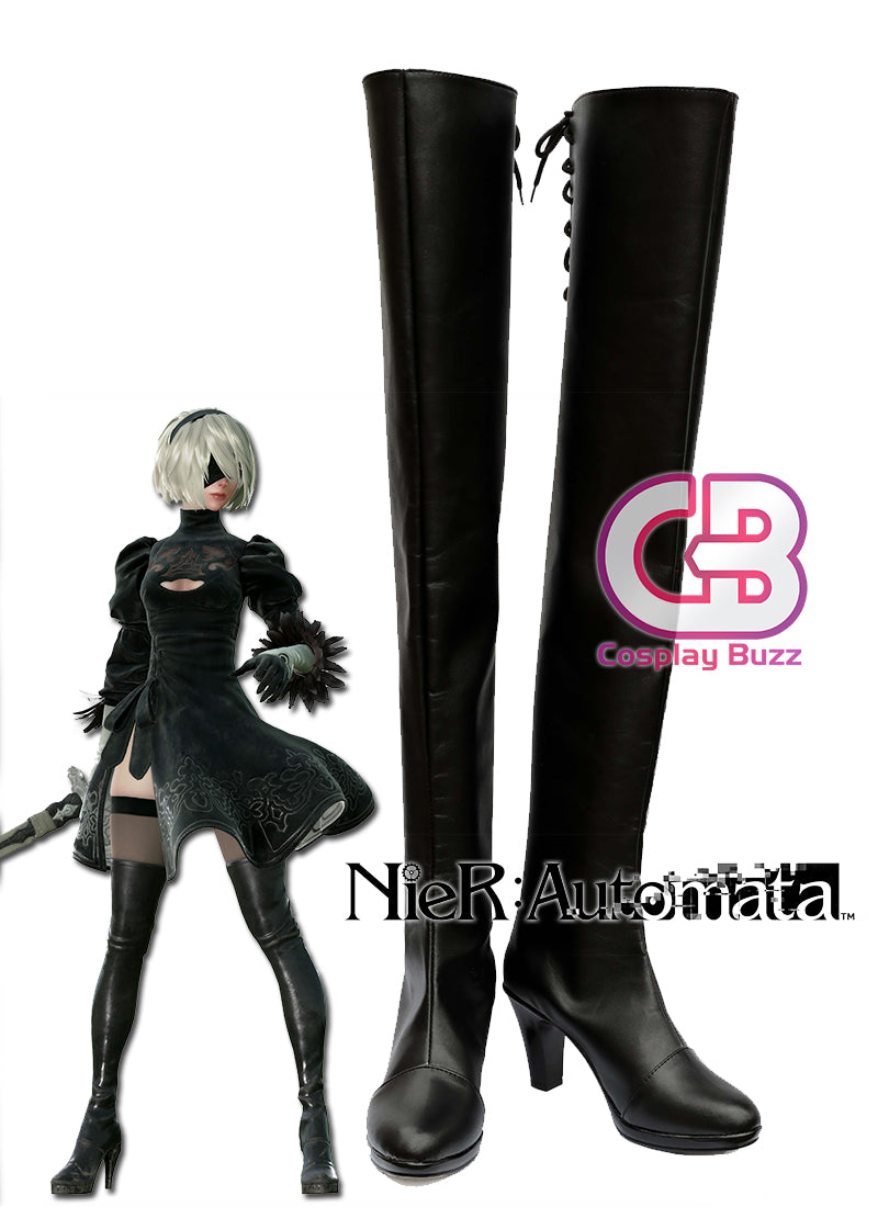 NieR:Automata 2B Custom-Made Black High Heel Shoes / Boots CPA144 - CosplayBuzz
